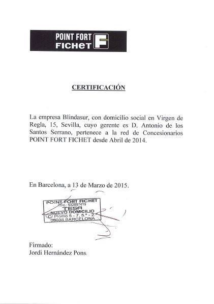 certificacion uso marca Fichet